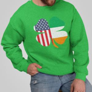 Irish American St Patricks Day Crew neck Sweatshirt, green