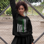 heathered sweatshirt mockup of a woman posing against a wire fence 28642